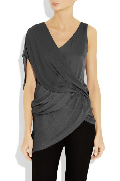 Helios draped hammered-satin top @ Net-A-Porter