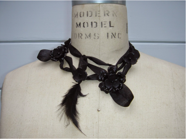 Necklace I designed for 1983 jewellery in LA from vintage plastic, silk ribbon & feathers