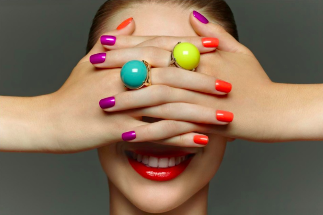 Revlon's colourful Spring campaign I styled, the nails & rings look like candy, yum!