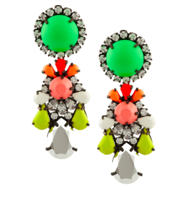 SHOUROUK Marguerit gunmetal-tone painted crystal earrings $135 Original price $675 80% off